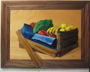 021 Pintura con relieve- cajon de verduras 50x70