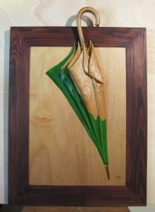 022 Pintura con relieve- Paraguas 50x70