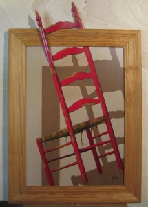 023 Pintura con relieve- Silla roja 50x70