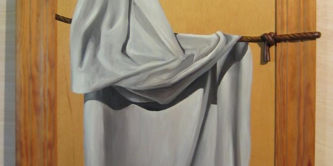 024 Pintura con relieve- Paño en cuerda 50x70