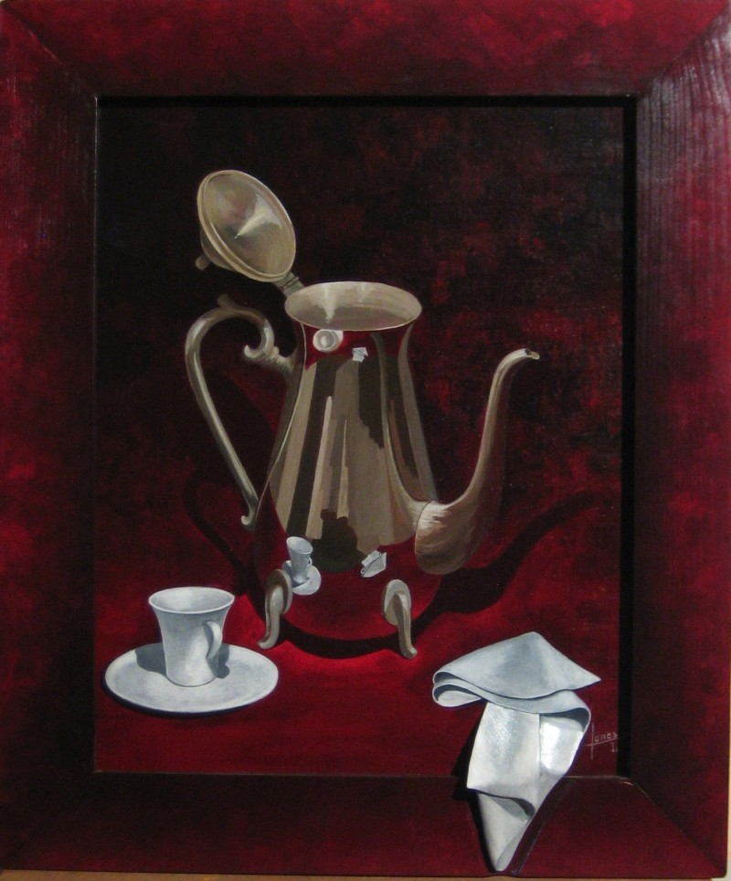 028 Pintura con relieve- Cafetera 40x50