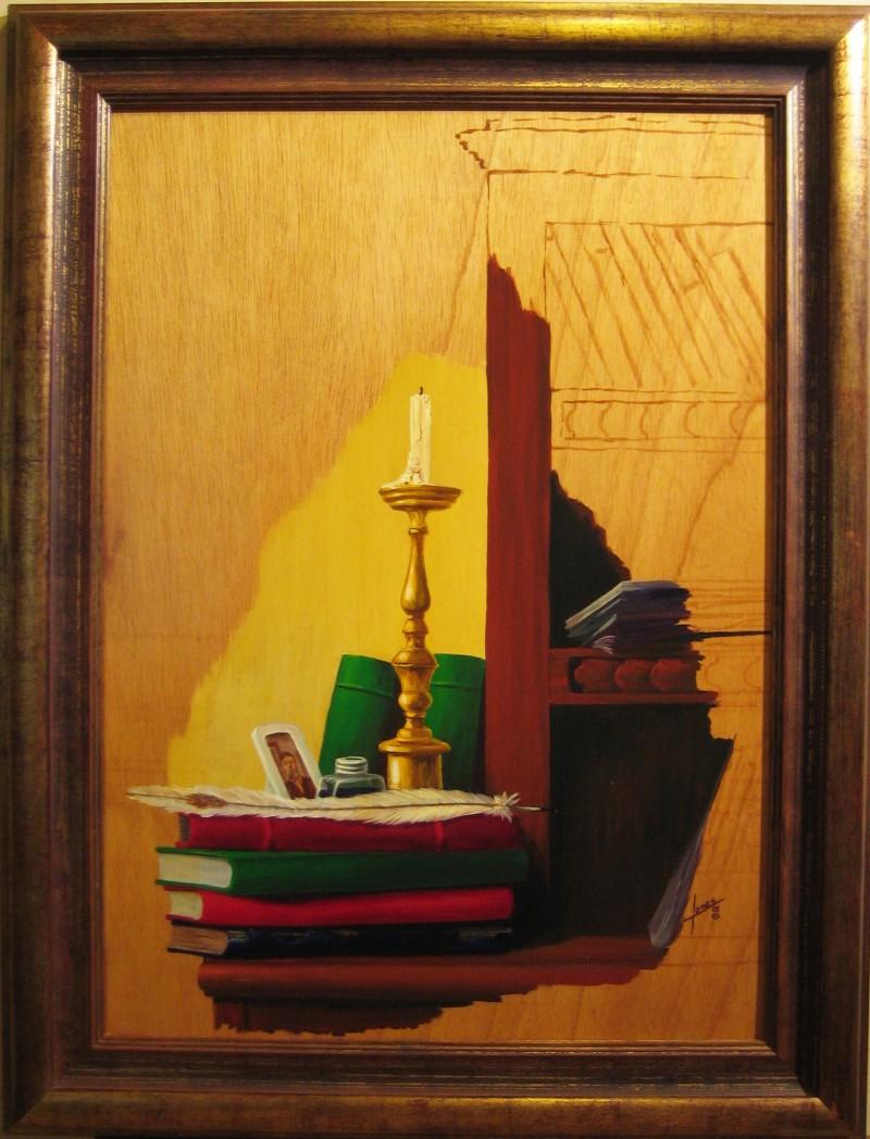 037 Pintura- Vela y libros 50x70