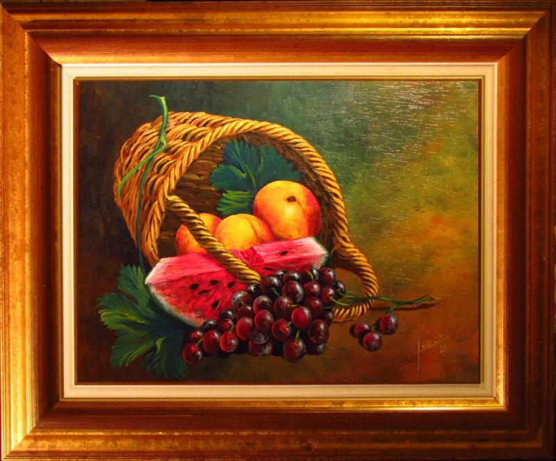 105 Bodegon- Cesta de frutas- Marco 25x34 160€