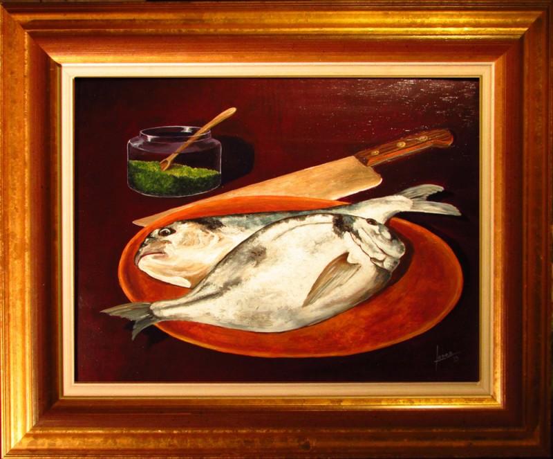 108 Bodegon- Pescados- Marco 25x34 160€