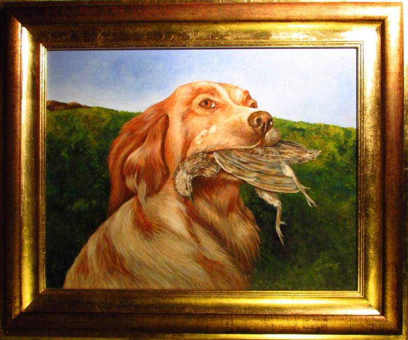 Perro de caza con ave de presa en las fauces - Jorge Jones