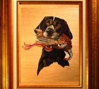 113 Perro Negro y blanco con presa- Marco 40x50 250€ (750 px)